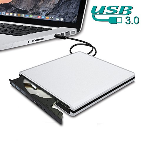 Dansrue USB 3.0 External CD DVD Drive Burner, 2018 Latest Ultra-Slim CD/DVD-RW Drive Writer Burner High Speed Data Transfer for Laptop Desktops Apple Mac Macbook Pro PC Windows Vista Linux (White B01)
