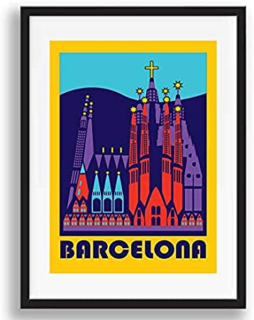 Box Prints Barcelona España Vintage Retro Travel Poster Art Imagen enmarcada de impresión de Pared: Amazon.es: Hogar