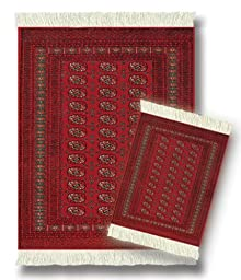 Lextra (Turkoman Bokhara), MouseRug & CoasterRug Set, reds and gold, 10.25\