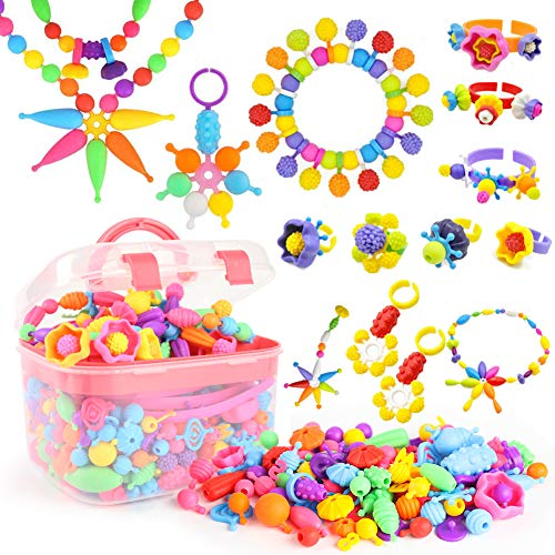 BigOtters Pop Beads, 500PCS+ Kids Pop Snap Beads Set DIY Jewelry Making Kit Toys to Make Hairband Necklaces Bracelets Rings Art & Craft Creativity Toys for Girls Christmas Birthday Gifts