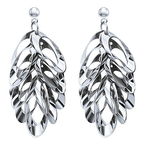 Price comparison product image LY8 Fashion Jewelry Stainless Steel Flower Patten Shining Dangle Drop Earrings for Women Silver Tone