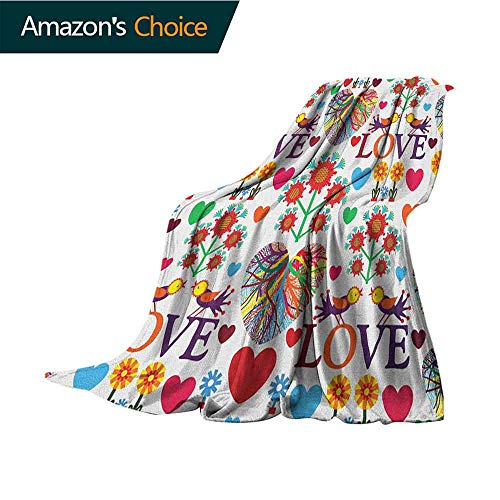 - Love Mattress Blanket,Colorful Blooms Romantic Pattern Birds Hearts Valentines Ornate Design Traditional Art Warm & Hypoallergenic Washable Couch/Bed Throws,Microfiber,30