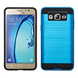 Galaxy On5 Case, Samsung Galaxy On5 [Shock Absorption / Impact Resistant] Hybrid Dual Layer Armor Defender Protective Case Cover for Galaxy On5 , (Brush Blue)