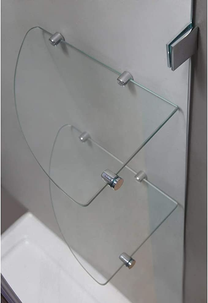 Aston Nautis Gs 72 X 72 Completely Frameless Hinged Shower Door With Glass Shelves Polished Chrome Amazon Com