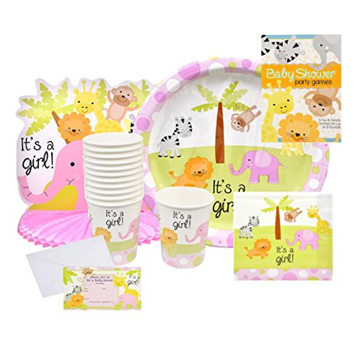 Baby Shower Decorations for Girls - This Girls Baby Shower Decorations Kit Includes Everything You Need for a Baby Shower – Bundle Includes Invitations, Center Piece, Cups, Plates, Napkins and -