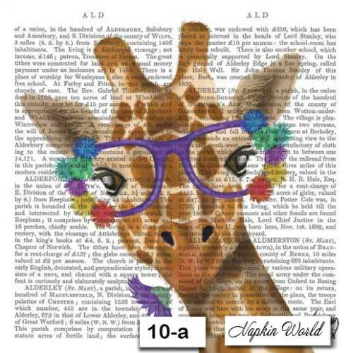 10-a Giraffe Newsprint Two Individual Paper Luncheon Decoupage Napkins