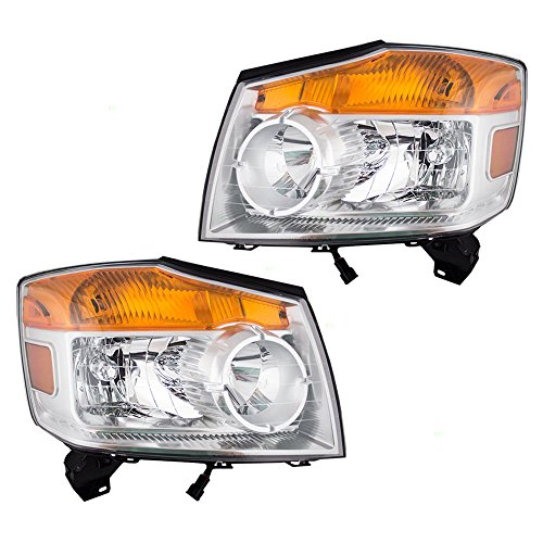 Driver and Passenger Halogen Combination Headlights Headlamps Replacement for 08-15 Nissan Armada 26060-9GA0B ()