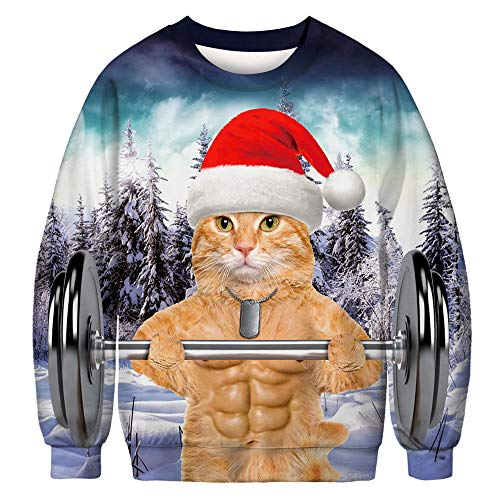 JomeDesign Unisex Ugly Christmas Sweater 3D Digital Printed Graphic Sweatshirt Pullover Muscle Cat Medium - National Cat Club