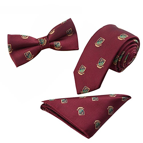 Pocket Men's Polyster Neck with 3pcs Fashion and Pre Set 4'' tied Burgundy ties Shield Skinny Bowtie 2 Pattern Square wPxwfqr