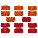 TOOGOO 14X Trailer Marker Led Light Double Bullseye 10 Diodes Lamps Red/Amber