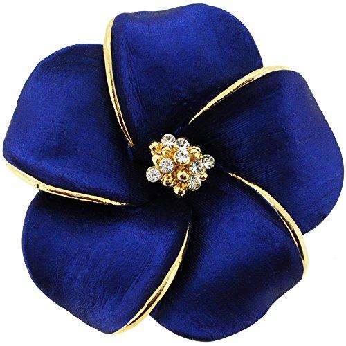 Blue Hawaiian Plumeria Flower Swarovski Crystal Pin Brooch And Pendant(Chain No Included)