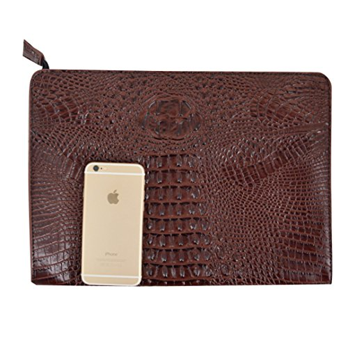 - Felice Fashionista Crocodile Pattern Oversize Leather Envelope Clutch Ladies Portfolio Evening Handbag (coffee)