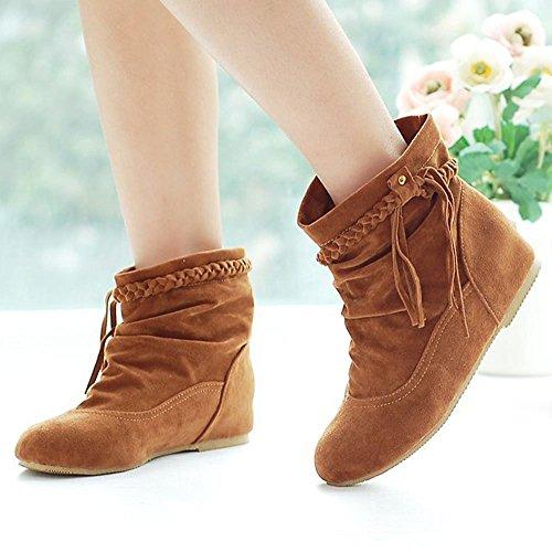 Flecos Botines Otoño Mujer Calentar Cargadores Invierno De E Botas Moda Minetom Cómodo Marrón Zapatos 07qw7