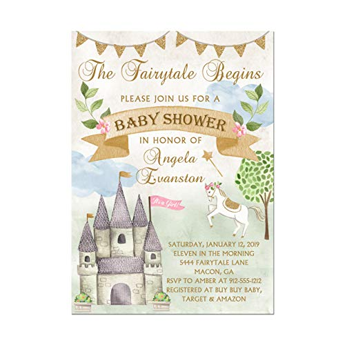 Fairy Tale Princess Castle Baby Shower Invitations, Base price is for a set of 10 5x7 invitations with white envelopes