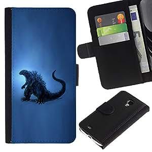 """Samsung Galaxy S4 Mini i9190 / i9195 (Not For Galaxy S4) , la tarjeta de Crédito Slots PU Funda de cuero Monedero caso cubierta de piel ("""" Dinosaur Blue Art Painting Reptile History"""")"""
