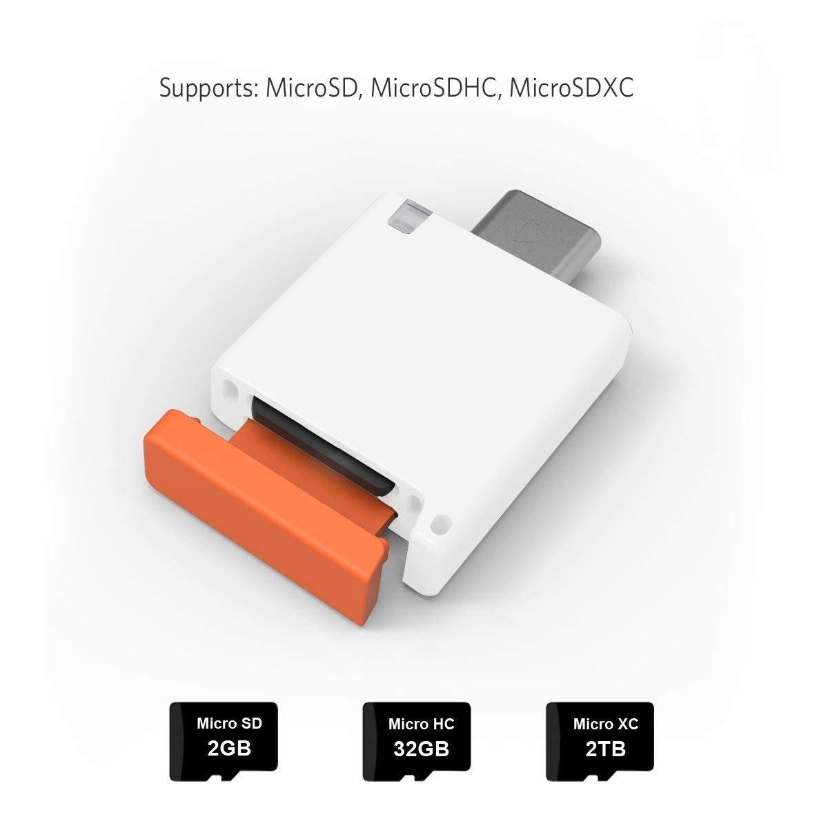 COOSA Lector de tarjetas USB Tipo-C 3.0 con Micro SD de alta velocidad (blanco) para Google Pixel 2 XL