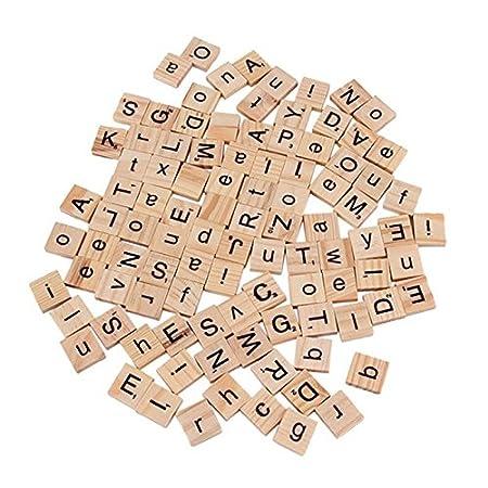 100 in Legno Scrabble Piastrelle Nero Lettere Numeri Per Artigianato Legno alfabeti UK