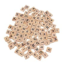 100 Wooden Alphabet Scrabble Tiles Black Letters and Numbers For Crafts Wood