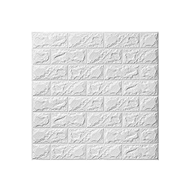 WINOMO 3D Wall Stickers Adhesive Wall Panel Brick Wallpaper for Living Room Decor 60 x 60cm (White)