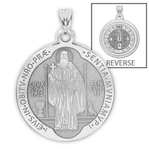 Saint Benedict Religious Medal - 2/3 Inch Size of Dime, Solid 14K White Gold (St Francis Medal White Gold compare prices)