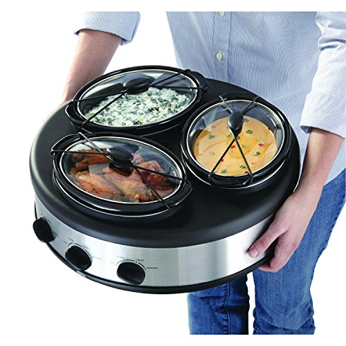 Chefman RJ15-15-TO Oval Crock Round Triple Slow Cooker with Individual Heat Control & Lid-Lock Straps, Stainless Steel, 3 x 1.5 quart