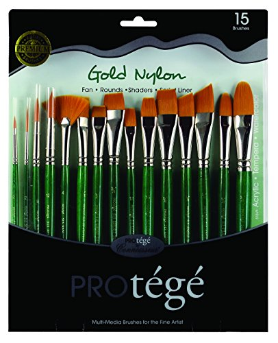 Price comparison product image Connoisseur Gold Nylon Short Handle Brush Set, 15-Piece