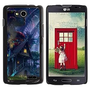 Qstar Arte & diseño plástico duro Fundas Cover Cubre Hard Case Cover para LG OPTIMUS L90 / D415 ( Fairytale World Alien Universe Elf House Magic)