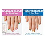 Fingernail Friends Colorful Nail Stickers Nail Art for Children, Butterflies & Zoo Animals (50 Stickers)