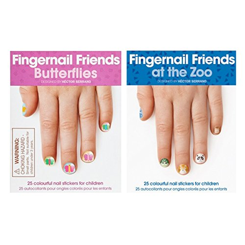 Fingernail Friends Colorful Nail Stickers Nail Art for Children, Butterflies & Zoo Animals (50 Stickers) by AllyDrew