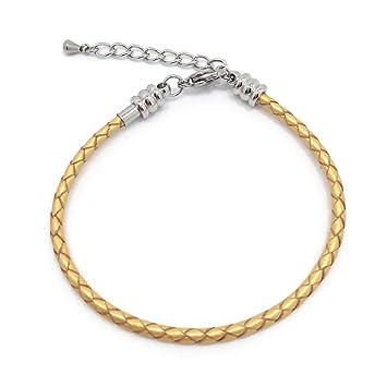 dda407cc17f3 Mosquetón de acero inoxidable pulsera Real Trenzado Cuerda de cuero pulsera  de cadena para las mujeres de la joyería Making 21cm(8.3inches) dorado  ...