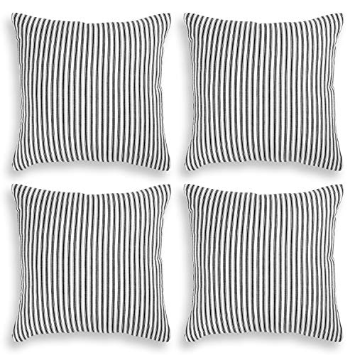 Cackleberry Home Black and White Ticking Stripe Woven Cotton Decorative Square Throw Pillow Case Covers 20 x 20 Inches, Set of 4 (Pillows Stripe Ticking)