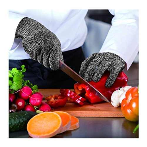 Cut Resistant Gloves,SMYTShop Food Grade Level 5 Protection,Kitchen Working for Cutting, Slicing and Wood Carving 1 Pair (Extra Small, Black) by SMYTShop (Image #2)