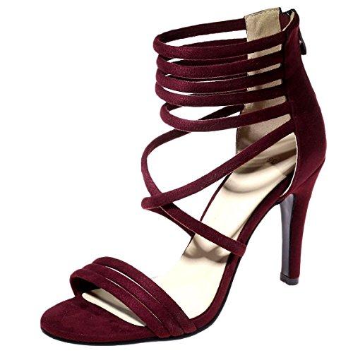 DecoStain con Sandalias Para rojo vino tacón alto mujer rr7ng