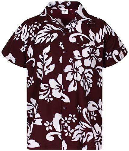 (King Kameha Funky Hawaiian Shirt, Shortsleeve, Hibiscus, Maroonred, L)