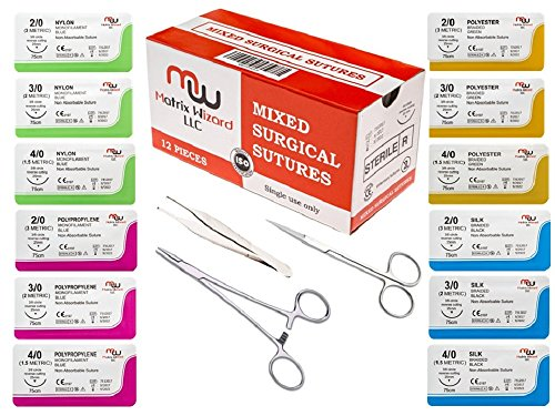 NEW Mixed Sterile Suture with Threads Needle + Training Accessories (Assorted 12 Pack with 3 Tools) for Suture Pads, Practice Suture Kit; Medical, Nursing, Dental, EMT, Medic and Veterinary Students Absorbable Suture