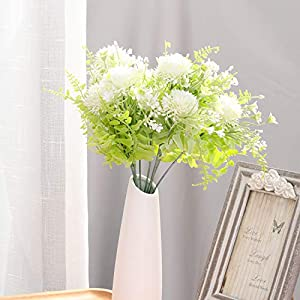 The Bloom Times Artificial Flowers Stems, 4 Bundles Fake Plastic Plants with Flower Floral Arrangement, Faux Bouquets Hanging Planter Filler for Wedding Home Office Farmhouse DIY Indoor Outdoor Decor 5