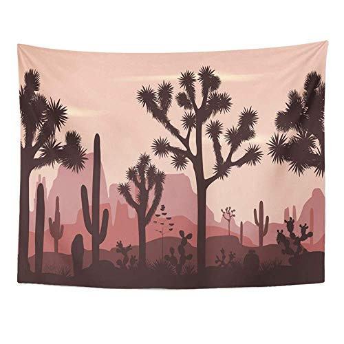 SSKBJTBDW Desert with Silhouettes of Joshua Trees Opuntia and Saguaro Cacti Mountains Tapestry Soft Polyester Cotton Appropriate Size Nice Wall Hanging Decoration