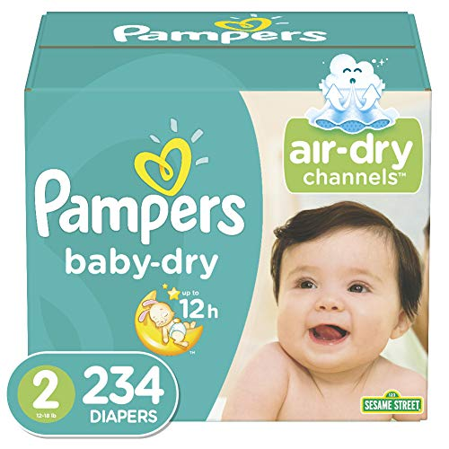 Diapers Size 2, 234 Count - Pampers Baby Dry Disposable Baby Diapers, ONE MONTH SUPPLY (Size 2 Pampers Sensitive Diapers)