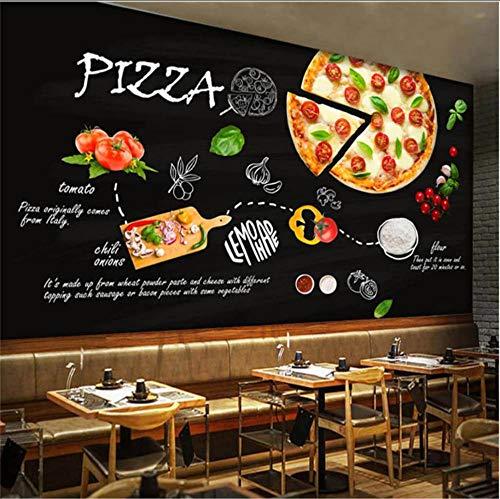 Sdefw Pizza Mural Wallpaper 3D Modern Fast Food Western Restaurant Snack Bar Industrial Decor Black Backdrop Wall Paper-200X140Cm