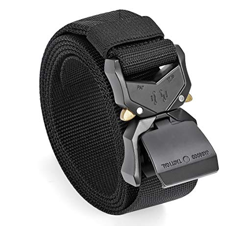JasGood Men Tactical Belt, Black Military Style Webbing Rigger Web Belt Work Heavy Duty Belt with Quick Release Buckle (Black,Waist Size 31-37Inch)
