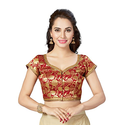TrendyFashionMall Readymade Gold Brocade Silk Saree Blouse Maroon-XL(44)