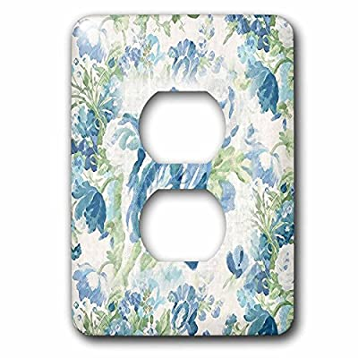 3dRose lsp_194793_6 Print of Victorian Flowers in Blue and Green 2 Plug Outlet Cover