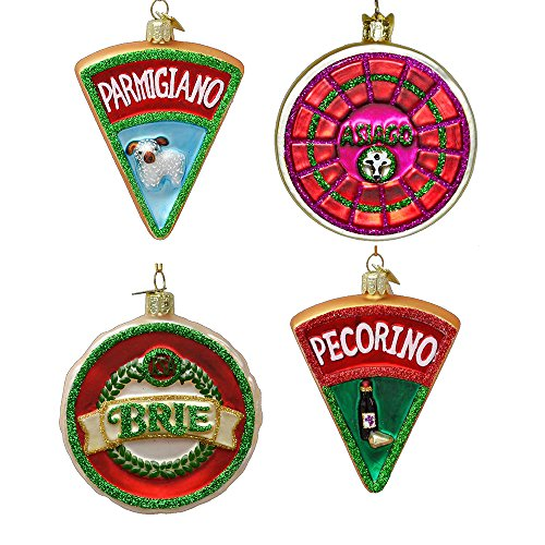 Italy Christmas Food - Kurt Adler 3.5-inch Noble Gems Glass Cheese Ornaments, Set of 4