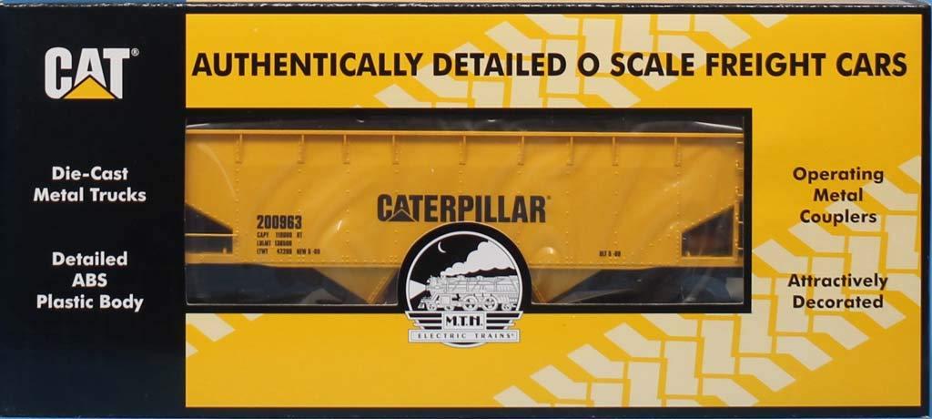 MTH 1:48 O Scale 2 Bay Offset Hopper Car Caterpillar #200963 #20-90468E