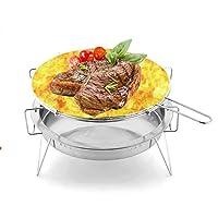 Grill Edelstahl klein silber BBQ Balkon Camping Picknick ✔ rund ✔ tragbar ✔ Grillen mit Holzkohle