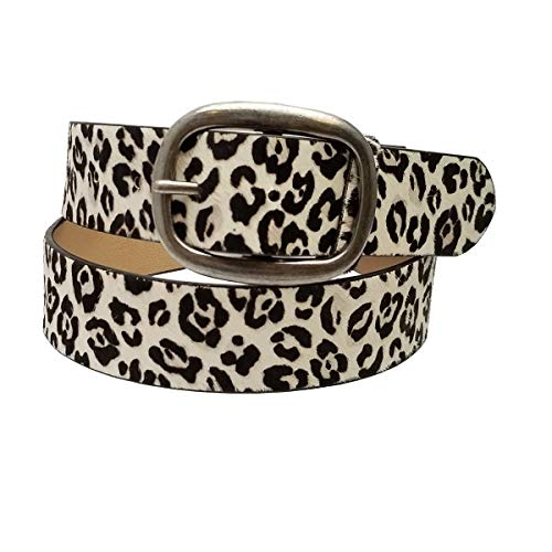 Leather Calf Large (Hair on Calf White Leopard Leather Belt in M/L)