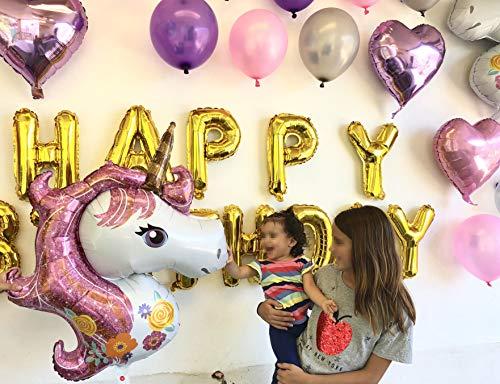 Paquete de 37 Piezas de Globos de Unicornio y de Corazon metálicos Ideales para Fiesta, Cumple años, festejos,...