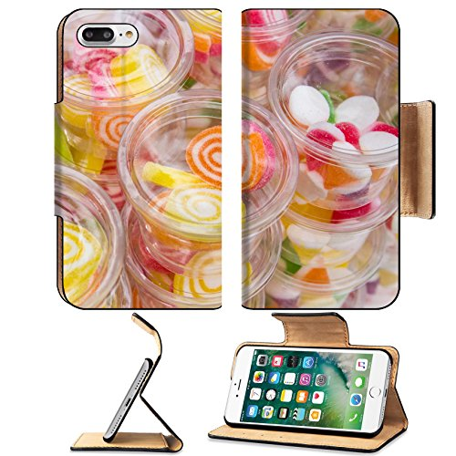 Luxlady Premium Apple iPhone 7 Plus Flip Pu Leather Wallet Case iPhone 7 Plus 25109199 Colorful candy in glass bowl ()