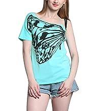 Women's Skew Collar Butterfly Print Off-shoulder Strapless Short Sleeve T Shirt
