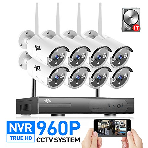 Hiseeu Wireless CCTV System 960P 8ch Powerful Wireless 1080P NVR 1TB HDD Pre-install, 8PCS 1.3Megapixel Wireless Weatherproof Bullet IP Cameras,Plug and Play,P2P,App,Home Security System (Digital Tb Antenna)